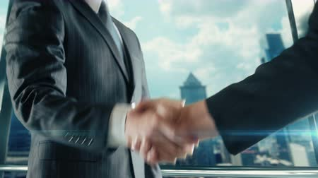 Businessman handshaking at important meeting in Philadelphia Pennsylvania Stock Footage