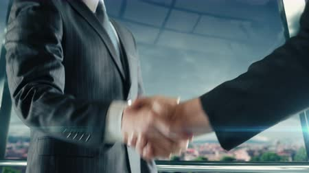 Businessman handshaking at important meeting in Rome Stock Footage
