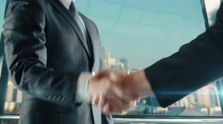 Businessman handshaking at important meeting in Seattle Washington Vídeos