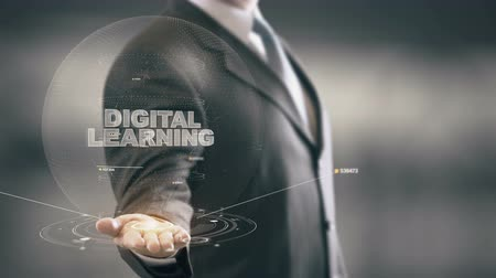 analisar : Digital Learning with hologram businessman concept