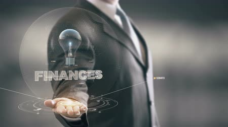 munkatárs : Finances with bulb hologram businessman concept
