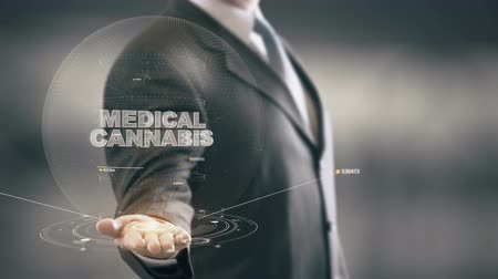 herbal : Medical Cannabis with hologram businessman concept Stock Footage