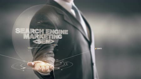 colaborar : Search Engine Marketing SEM con holograma concepto de empresario