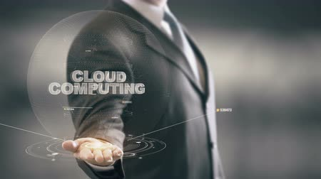 felhőzet : Cloud Computing with hologram businessman concept Stock mozgókép