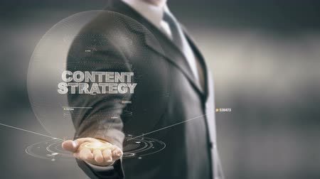 gestão : Content Strategy with hologram businessman concept