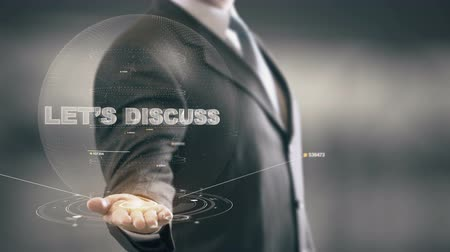 подпись : Letss Discuss with hologram businessman concept