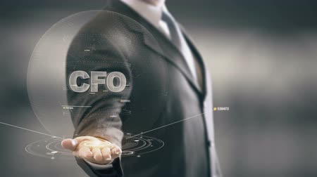 computeren : CFO met hologram zakenman concept Stockvideo