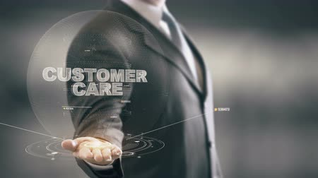 supervisor : Customer Care with hologram businessman concept Stock Footage