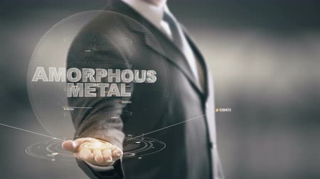operation : Amorphous Metal with hologram businessman concept Stock Footage