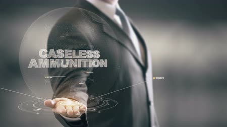 Caseless Ammunition with hologram businessman concept Stock Footage