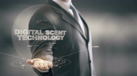 kafeterya : Digital Scent Technology with hologram businessman concept Stok Video