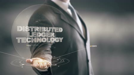 Distributed Ledger Technology with hologram businessman concept