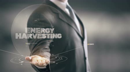 Energy Harvesting with hologram businessman concept Stock Footage