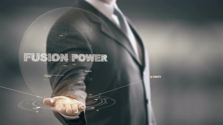 Fusion Power with hologram businessman concept