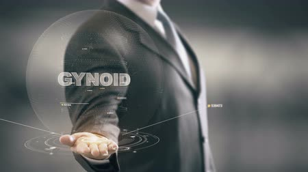 Gynoid with hologram businessman concept