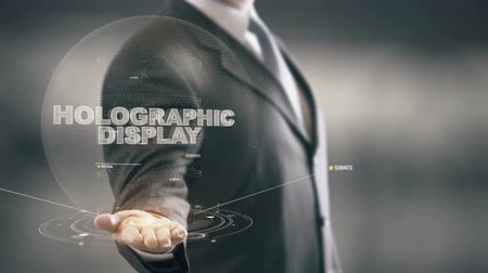 Holographic Display with hologram businessman concept Stock Footage