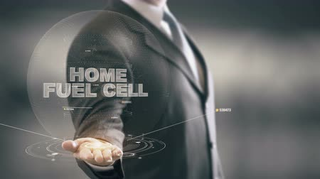 kolektor : Home Fuel Cell with hologram businessman concept