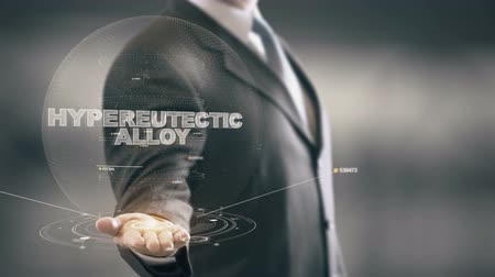Hypereutectic Alloy with hologram businessman concept