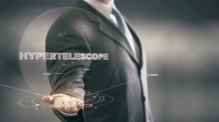 Hypertelescope with hologram businessman concept Stock Footage