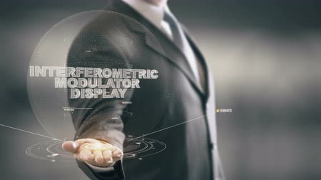Interferometric Modulator Display with hologram businessman concept Stock Footage