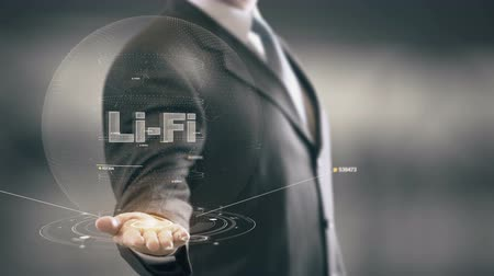 Li-Fi with hologram businessman concept