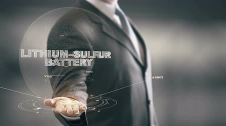 Lithium–Sulfur Battery with hologram businessman concept