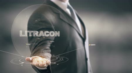 LiTraCon with hologram businessman concept Stock Footage