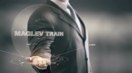 Maglev Train with hologram businessman concept Stock Footage