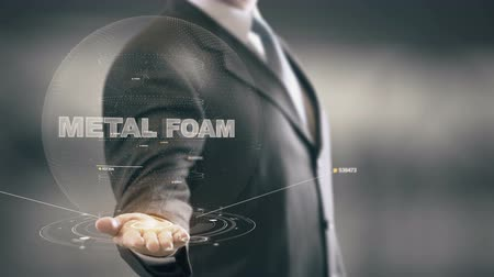 Metal Foam with hologram businessman concept Stock Footage