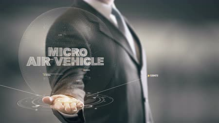 Micro Air Vehicle with hologram businessman concept