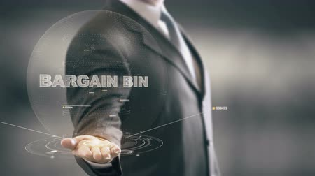 Bargain Bin with hologram businessman concept