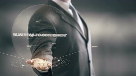 Business-To-Government with hologram businessman concept Stock Footage