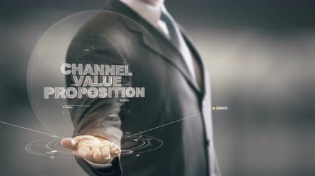 Channel Value Proposition with hologram businessman concept