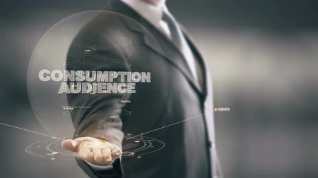 Consumption Audience with hologram businessman concept Stock Footage