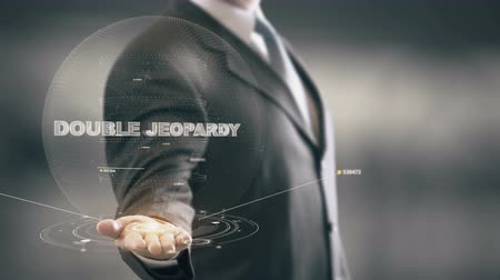 Double Jeopardy with hologram businessman concept