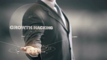 Growth Hacking with hologram businessman concept Stock Footage