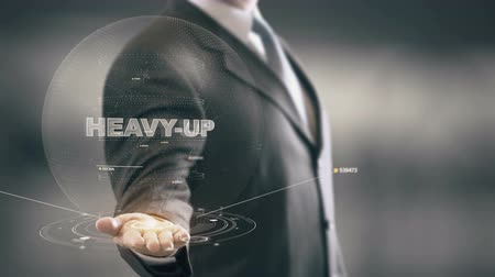 кризис : Heavy-Up with hologram businessman concept