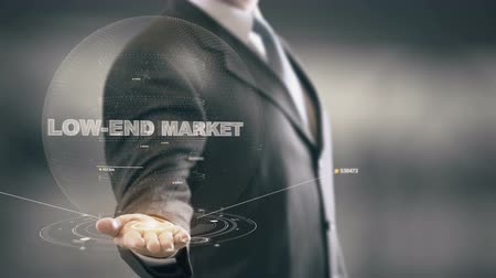 Low-End Market with hologram businessman concept Stock Footage