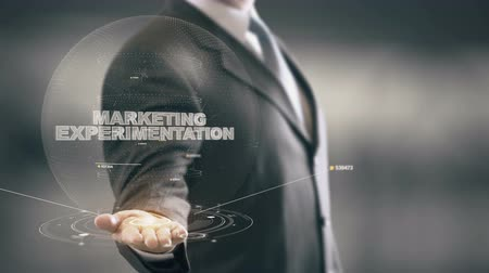Marketing Experimentation with hologram businessman concept
