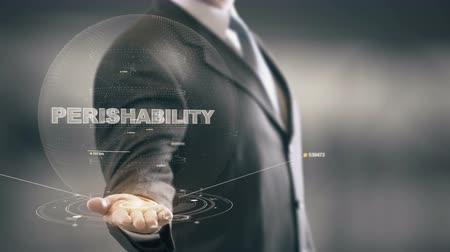 Perishability with hologram businessman concept Stock Footage