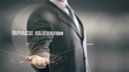 winda : Space Elevator with hologram businessman concept
