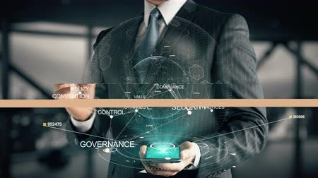 standardization : Businessman with Compliance hologram concept Stock Footage