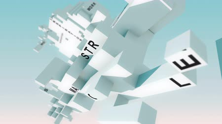 marca : Market Analyzing words animated with cubes Stock Footage