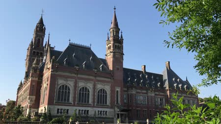 tribunal : THE HAGUE, 4 July 2018 - View of the Peace Palace, seat of the International Court of Justice, principal judicial organ of the United Nation located in The Hage, Netherland