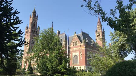 trvalé bydliště : THE HAGUE, 4 July 2018 - View of the Peace Palace, seat of the International Court of Justice, principal judicial organ of the United Nation located in The Hage, Netherland