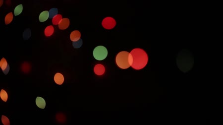 flashing : Textured flashing New Year garlands on a dark background. Stock Footage