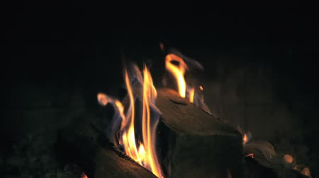 hamu : Burning wood in the fireplace. Slow motion closeup Full HD footage