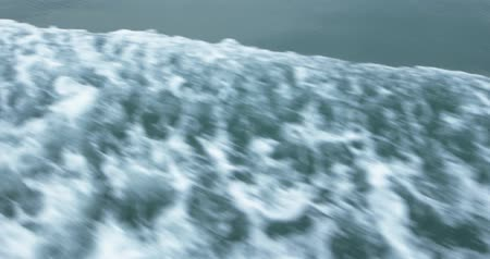 popa : Waves from speed boat. Water wake behind ship. Shot filmed in 4k 2160p