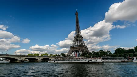 urban skyline : Eiffel Tower and Seine River, Timelapse Video, Paris, France