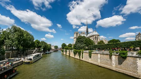 francja : Notre Dame Cathedral and Seine River, Timelapse Video, Paris, France Wideo